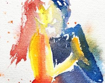 Original Watercolor, Tango, dance, original painting, watercolor painting, dancers, art, painting Tango #2