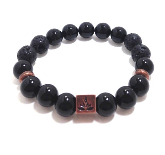 Black Onyx and Copper Lotus Flower Diffuser Bracelet- Essential Oil- Diffuser Aromatherapy - Lava Bead Essential Oil Diffuser Bracelet