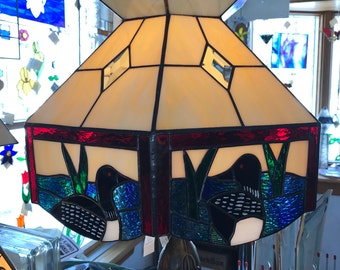 Stained Glass Loon Lampshade