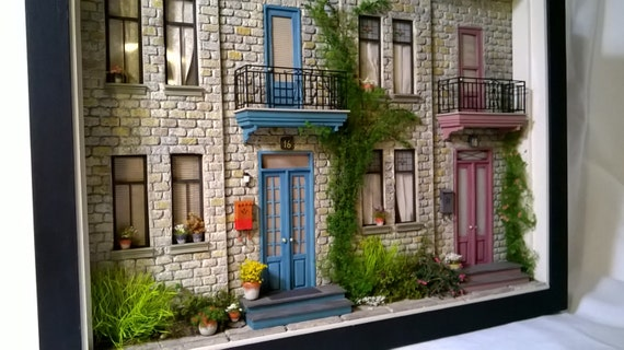 dollhouse miniatur haus diorama shadowbox kunst skulptur. Black Bedroom Furniture Sets. Home Design Ideas
