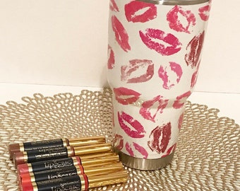 Custom Lips Print Yeti Ramblers, Lips Ramblers, Hydro-Dipped ramblers