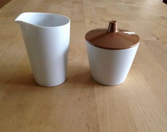 melamine sugar & creamer set brown/white mid century