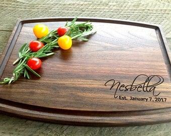 Custom Cutting Board, Personalized Cutting Board, Engraved Cutting Board, Wedding Gift, Engagement Gift, Anniversary Gift, Walnut, Maple