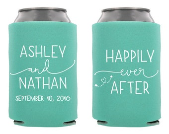 Happily Ever After Wedding Can Cooler, Personalized Wedding Can Cooler, Custom Wedding Can Cooler, Wedding Favor, Rehersal Dinner