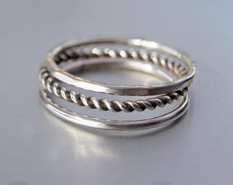 Set of 3 sterling silver stacking rings - smooth, rope and hammered - pinkie rings, knuckle rings, handmade.