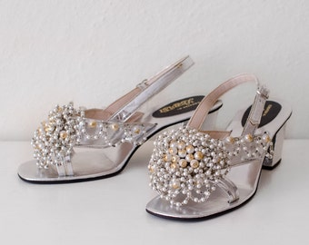 Vintage 1960's Designer Silver Pearly Beaded Kitten Heels Created by Lebasi