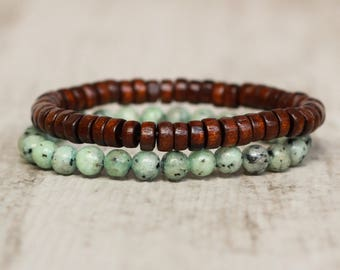wooden bracelet beach jewelry summer bracelet beaded elastic bracelet stretch boho bracelet stack bracelet small bracelet gifts tribal