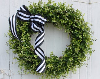 Boxwood Wreath, Farmhouse Decor, Summer Wreath, Greenery Wreath, Front Door Wreath, Outdoor Wreath, Year Round Wreath, Mother's Day, Wreaths