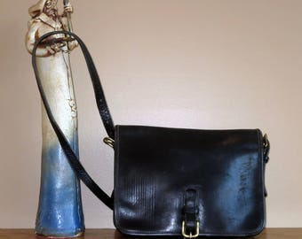 Coach Large Saddle Pouch In Black Leather- Made In New York City At 'The Factory'- Distressed