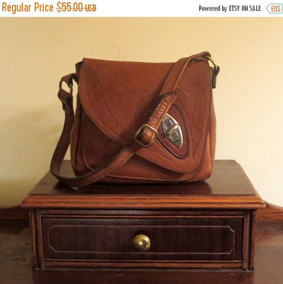 Football Days Sale Handmade Leather Artisan Shoulder Bag In Brown Leather With Silver And Brass Tone Hardware- Very Good Condition- Made In