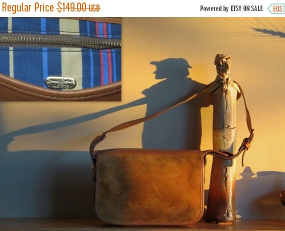 Football Days Sale Striking Vintage Bonnie Cashin For Meyers Suede British Tan Leather Bag With Signature Bonnie Cashin Striped Lining and L