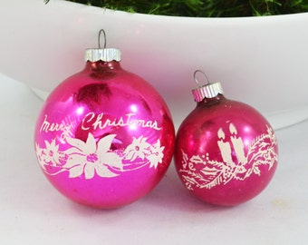 Vintage Stenciled Glass Shiny Brite Ball Christmas Ornaments, Pink Glass Ornament