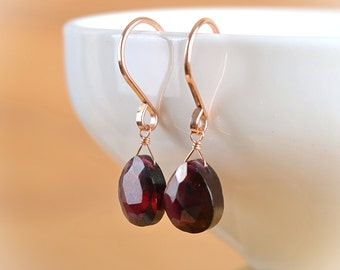 Rhodolite Garnet Earrings, Red January Birthstone Earrings, Dangle Drop Earrings Leverback Earrings: Rose Gold, Gold Filled, Sterling Silver