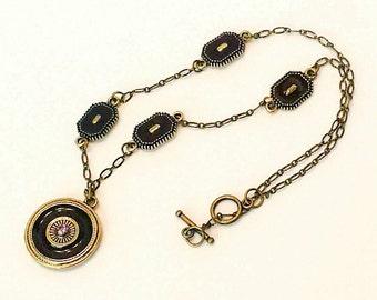 Feminine Enamel Pendant Necklace on delicate retro crinkle finished bronze chain Petite jewel tone enamel  burgundy OOAK jewelry