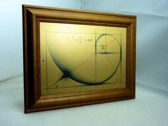 Brushed Gold Wall Decor : Fibonacci golden ratio spiral wall art on brushed gold metal