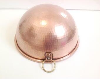 antique french rolled top copper mixing bowl, cul de poule, copper baking, pastry