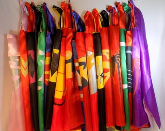 Superhero Cape and Mask set,  Spidergirl cape, superhero cape, party favors, birthday party. many to choose from. Ready to ship!
