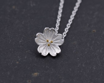 Sterling Silver Dainty and Delicate Cherry Blossom Pendant Necklace 18'' z91