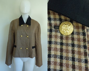 50%offJune27-30 80s plaid cropped jacket size xl / 16, 1980s brown black lightweight double breasted blazer, leslie faye womens jacket