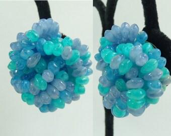 60s beaded earrings, 1960s aqua blue chunky statement earrings, knotted beads mad men fancy evening vintage earrings costume jewelry