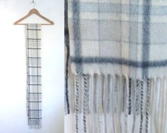 plaid scarf, extra long scarf, acrylic scarf, tartan scarf, fringe scarf, fall scarf, winter scarf, off white light blue gray