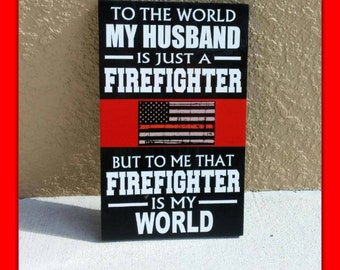 THIN RED LINE Personalized Firefighter Wood Wall Plaques. Firefighter gifts, Firefighter Wedding, Firefighter Retirement, Thin Red Line