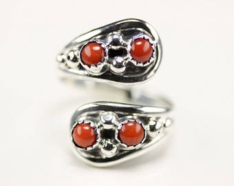 Native American Jewelry Sterling Silver Coral Adjustable Ring