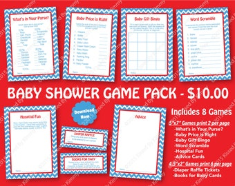 Blue and Red Baby Shower Game Pack - 70% OFF -PRINTABLE Boy Shower Games- 8 Pack- Bright Blue Red -Chevron Party Seuss Diaper Raffle 13-2