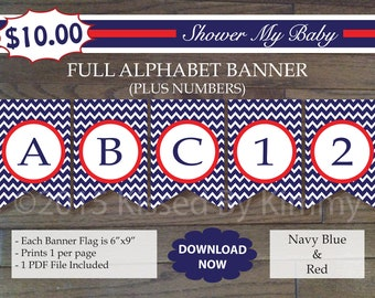 Red and Blue Nautical Baby Shower -70% Off-FULL ALPHABET + Numbers Banner-Printable Birthday Banner-chevron - sport USA - Navy Blue Red 12-2