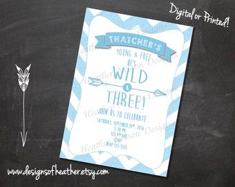 Wild & Three Digital Birthday Invitation