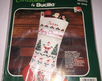 vintage Bucilla #32462 Santa and Friends easy to personalize Christmas Stocking New