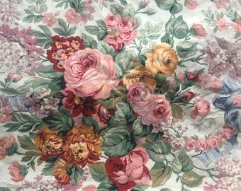 """Ralph Lauren Allison Floral Non Standard Sized Full Flat Sheet Measurements 97""""x76"""" Repurpose Fabric Yardage Shabby Cottage French Country"""