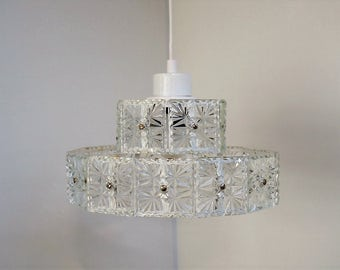 Vintage glass chandelier - Scandinavian design from the 1970s