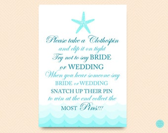 Starfish Beach Bridal Shower, Dont Say Bride Wedding Game, Don't Say Game, Clothespin Game, Bridal Shower Game, Shower Games Download BS28