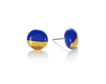 Blue porcelain round Studs with 22k Gold dip