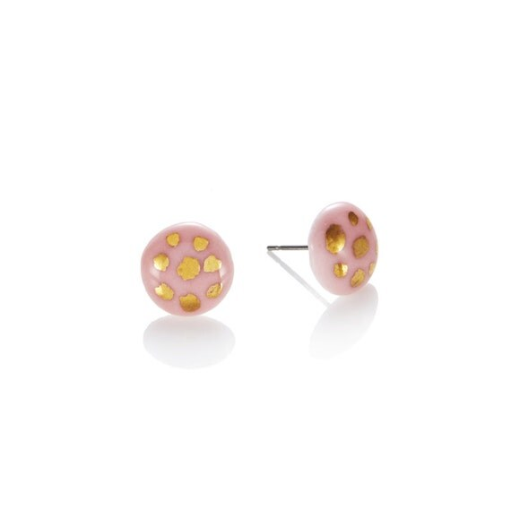 Pink porcelain round Studs with 22k Gold polka dot