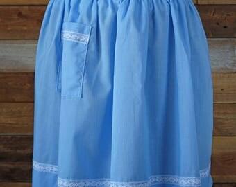 Vintage apron with pocket - Blue apron - Retro kitchen