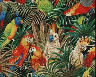 Timeless Treasures Quilting Cotton Fabric Parrots in Jungle 127599 - 1/2 Yard