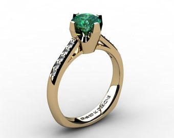 Modern Russian 14K Yellow Gold 1.0 Ct Emerald Diamond Solitaire Engagement Ring R1122-14KYGDEM