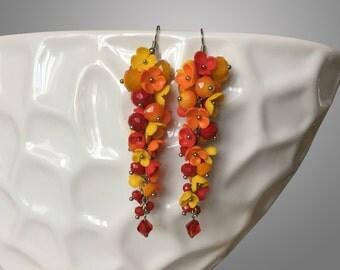 Summer polymer clay earrings. Polymer clay.