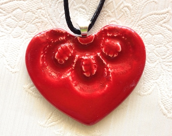 Heart shape ceramic pendant