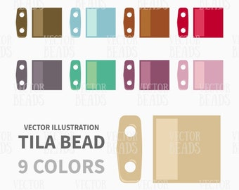 Miyuki Tila Beads Vector Clip Art Set for Creating Beading Charts - ai, eps, pdf, png