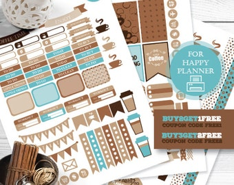 Happy Planner Stickers, Coffee Printable Planner Stickers, Blue Brown Planner Stickers, Coffee Weekly Kit, Coffee Sticker Kit, MAMBI