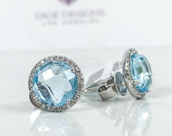 4.51 tcw 14K White Gold Checkered Round Blue Topaz And Diamond Stud Earrings