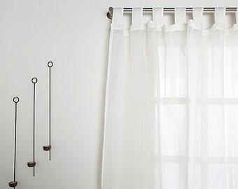 Linen Curtain-White Linen Curtain -Tab top Linen panel-Sheer Linen Curtain - Width 67'' (170cm) x Custom length