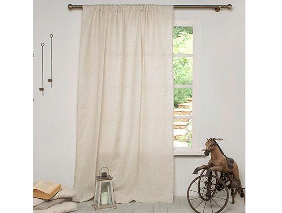 Linen Curtain-Curtains-Linen drapes in Beige color-Linen Window ...