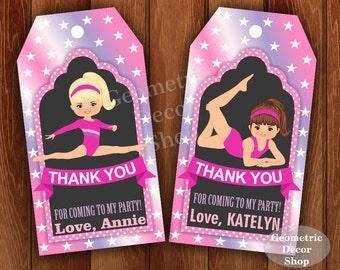 Thank you cards Gymnastic Favor tags digital gift Decoration birthday printable DIY Pink Purple Thank you card tag Girl Chalkboard FTPG1