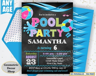 POOL PARTY Invitation, Pool Party, Pool Bash, Birthday Invitation, Birthday Invite, Girl, Swimming, Pink, Purple Blue Green Chalkboard BDP14