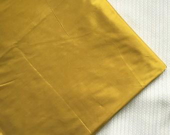 CIJ SALE yellow silk, polyester taffeta, mustard taffeta, faux taffeta, yellow fabric, polyester silk, by the yard, Art Silk, MUSTARD-PS32
