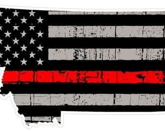 Montana State (C27) Thin Red Line Vinyl Decal Sticker Car/Truck Laptop/Netbook Window